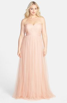 THIS DRESS W/ LACE JACE OR VELVET JACKET OR SHRUG WITH STRAPS WOULD BE EASY, EMILY - Jenny Yoo 'Annabelle' Convertible Tulle Column Dress (Plus Size) available at #Nordstrom