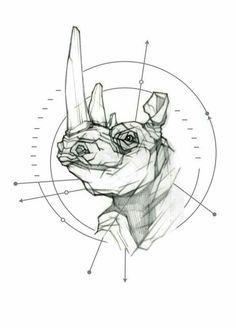 My Most Favorite Geometric Tattoo Time Tattoos, Body Art Tattoos, Tattoo Sketches, Tattoo Drawings, Afrika Tattoos, Cliche Tattoo, Geometric Tattoo Leg, Rhino Tattoo, Rhino Art