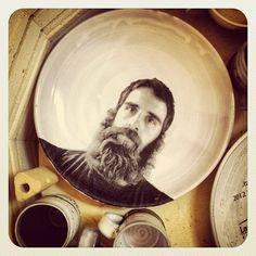 Justin Rothshank - Self Portrait Platter, just loaded into the kiln, still in process.