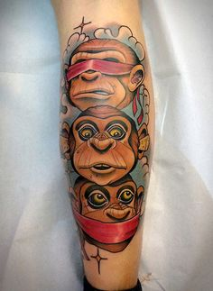 Tattoo by Fulvio Vaccarone - see no evil, hear no evil, speak no evil monkey totem