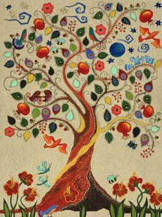 arvore com frutas e pássaros