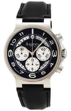 New York Guilt - Asprey of  London No.8 Open Black Dial Automatic Chronometer Watch With Chronograph