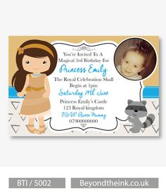 Personalised Pocahontas Photo Invitations.  Printed on Professional 300 GSM smooth card with free envelopes & delivery as standard. www.beyondtheink.co.uk