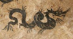 Antique dragon mosaic in archeological site in Krk, Croatia