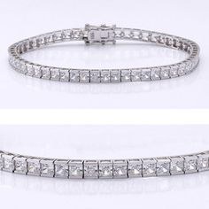 This classic cubic zirconia tennis bracelet features 0.13 carat each (3mm) princess cut in a 14k white gold channel setting. An approximate 7.75 total carat weight. This high quality cubic zirconia bracelet is 7 inches long, also available in different lengths via special order. Cubic zirconia weights refer to equivalent diamond carat size.