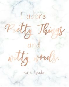 Kate Spade Printable Wall Art Marble & Rose Gold I Adore