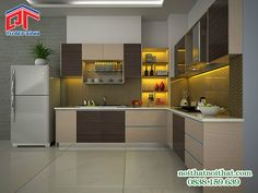 Tủ bếp MFC kiểu dáng đơn giản, thanh lịch với màu sắc nhẹ nhàng PTM39