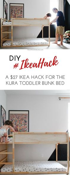 Climbing wall and bunk bed ensembleClimbing wall and bunk bed ensembleGood Pictures DIY Ikea Hack: KURA toddler bunk bed Bunk Bed Diy, Toddler Bunk Beds, Diy Toddler Bed, Bunk Beds Boys, Kid Beds, Bunk Beds For Toddlers, Kids Beds Diy, Toddler Bedding Boy, Toddler Beds For Boys