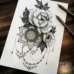 Top 40 Tattoo Sketches – New Tatto Designs 2018 – Tattoo Drawings Mendala Tattoo, Hand Tattoo, Piercing Tattoo, Get A Tattoo, Tattoo Thigh, Rose Thigh Tattoos, Tattoo Mandala Feminina, Mandala Arm Tattoo, Mandala Rose