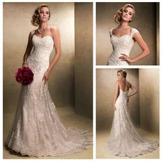 Cheap lace and satin wedding dress, Buy Quality lace mermaid dress directly from China lace skull Suppliers: Removable Cap Sleeve Short Train Wholesale Price Sweetheart Vintage Lace Wedding Dresses1. leave message in following co