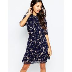Style London Pussybow Skater Dress In Mini Floral Print ($46) ❤ liked on Polyvore featuring dresses, blue, floral printed dress, blue flower print dress, flower pattern dress, flower print dress and flower print skater dress