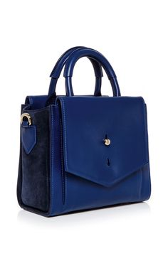 Blue Leather Mini North South Downing Tote by Thakoon