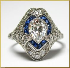 EXQUISITE EDWARDIAN PLAT SAPPHIRE ACCENTED PEAR (.90CT) DIAMOND SOLITAIRE RING #HandMadebyHighEndJeweler #SolitairewithAccents