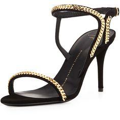 Giuseppe Zanotti Suede Chain Link Ankle-Wrap Sandal