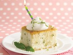 Mojito Cake from Betty Crocker - Slices of tender white cake feature pretty flecks of fresh mint. The rum glaze and whipped cream garnish are great!