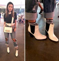 A Gabriela Sales (@ricademarre) vestiu botinha Chelsea de salto da Luiza Barcelos