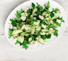 Courgette, feta & mint salad Four ingredients and ten minutes is all you need to make this stunningly simple Med-style green salad Bbc Good Food Recipes, Veggie Recipes, Salad Recipes, Vegetarian Recipes, Cooking Recipes, Healthy Recipes, Healthy Cooking, Healthy Meals, Yummy Recipes