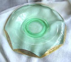 Green Depression Glass Bowl - Paden City Glass