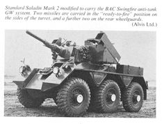 Standard armored car fitted with 2 x single Swingfire boxes on either side of the turret Armored Car, Armored Vehicles, Car Wheels, Military Aircraft, Military Vehicles, Air Force, Weapons, Armour, War