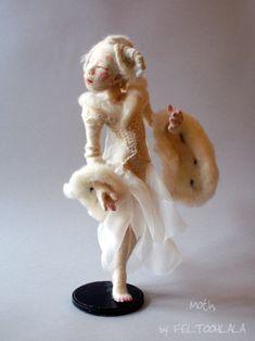 White Moth, a needle felted art doll by FELTOOHLALA