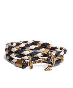 Kiel James Patrick Navy Leather Wrap Bracelet - Brooks Brothers