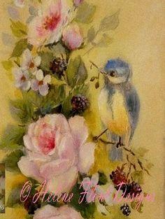 Original painting  © Hélène Flont‿ ◕✿: Baby blue tit  & roses