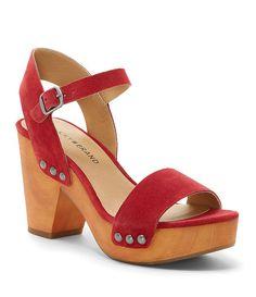 5de57aa3a5c Lucky Brand Trisa Oiled Suede Nail Stud Detail Platform Block Heel Dress  Sandals