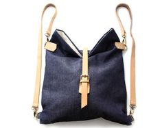 Roby BACKPACK, denim and leather backpack, blue