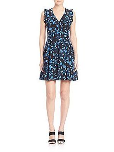 Rebecca Taylor Kyoto Floral Silk Dress - Black - Size