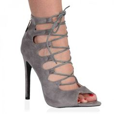 d51a361597d2 Laila Grey Faux Suede Lace Up Heel Sandals