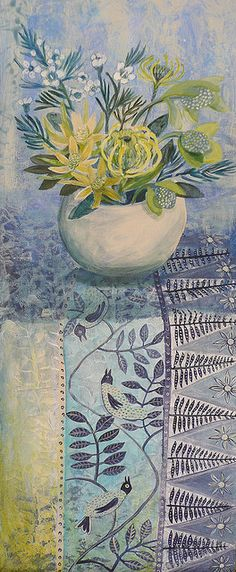 Cate Edwards blue and yellow still life