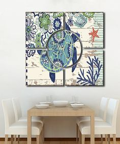 Another great find on #zulily! Blue Turtle Wall Art Set #zulilyfinds