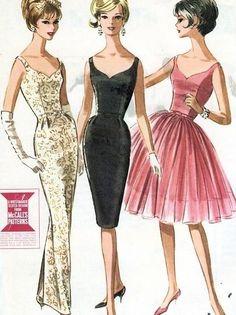 vintage pattern 50s 60s sheath full skirt cocktail dress gold black pink color…