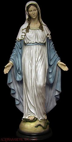 Our Lady of Grace Alabaster Hand-Painted Statue - Designed By Ennio Furiesi