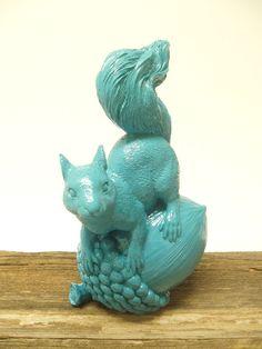 Upcycled Turquoise Squirrel on a Nut figurine by SacredArtDesignz, $24.00