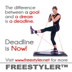 The difference between a Freestyler workout goal and a dream is a deadline. And deadline is NOW! www.freestyler.net Home Appliances, Goals, Gym, Workout, Motivation, House Appliances, Work Out, Appliances, Excercise