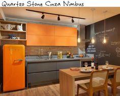cozinha integrada bancada silestone cinza quartzo stone