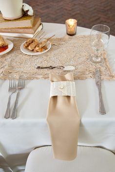 Book Page napkin sash, Morgan Sallo Events Wedding and Event Planner, Event Styling and Design, Savannah Weddings - This is really nice