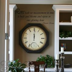 Love hath no measurement in time; A customized vinyl wall phrase quote decal that looks beautiful on a wall near a clock
