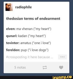"Thedosian terms of endearment elven: ma vhenan (""my heart"") qunari: kadan (""my heart"") tevinter: amatus (""one i love"") ferelden: pup (""i love dogs"") - iFunny :) Solas Dragon Age, Dragon Age Memes, Dragon Age Funny, Dragon Age 2, Dragon Age Origins, Dragon Age Inquisition, Dragon Ball Z, Skyrim, Artemis Fowl"