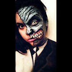 Two face Harvey Dent batman villain body paint makeup