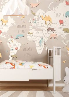 Tolle Idee - Wallpaper fürs Kinderzimmer - die Welt und ihre Tiere *** Great Wallpaper Idea - World with animals - for every size