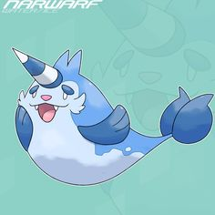Narball Ice Horn Pokemon Ability: Thick Fat/Swift Swim - Narball float on the surface, playing with other Narball. Their single horn is made of ice, growing larger the colder it is. Parental Walrei...