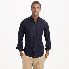 Soft heather twill shirt in pinstripe - J Crew