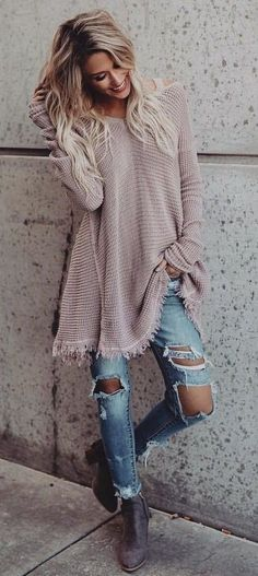 100+ Perfect Winter Outfits To Stand Out! Cute and cozy! winter outfits - brown long-sleeved sweater