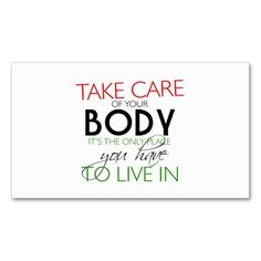 Take Care Of Your Body Nutritionist Card Double-Sided Standard Business Cards (Pack Of 100)