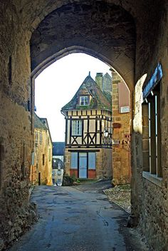 """Saint-Benoît-du-Sault, Indre department, Centre Region, France is a medieval village, perched in a curve on a rocky butte overlooking the Portefeuille River in the former province of Berry. In 1988, it was named one of """"the most beautiful villages of France."""""""