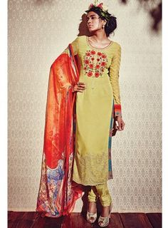 #YellowGold #Straight #Churidar #Suit Features on georgette fabric top, santoon bottom and inner and chiffon fabric dupatta with digital print.