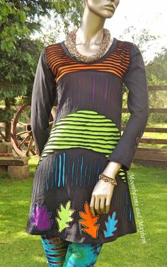 ♥ ~ FAB NEW SIZE 10 12 MED BLACK HIPPIE DRESS BOHO FESTIVAL TIE DYE LEGGINGS ~ ♥