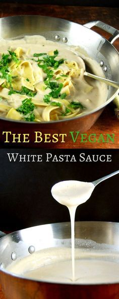 The best vegan White Pasta Sauce, and it's made with beans!